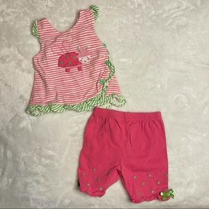 Le Top Green & Pink Ladybug 2 Piece Size 6 months